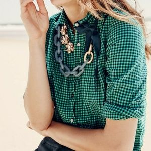 J. Crew Gingham Gathered Popover Shirt Navy Green